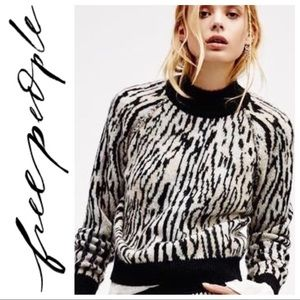 Free People• Abstract Zebra Leave Me Wild Sweater